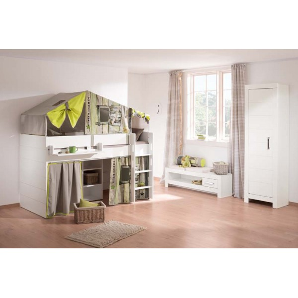 paidi fiona halfhoogslaper met rechte trap 90 x 200 cm. Black Bedroom Furniture Sets. Home Design Ideas