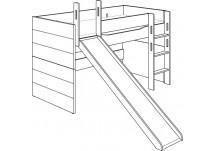 Paidi Fiona halfhoogslaper met glijbaan en rechte trap / 90 x 200 cm