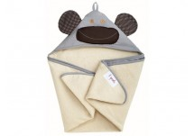 3 Sprouts Hooded Towel grey monkey