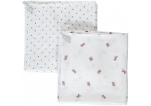 Puckababy Muslin Bamboo Swaddle 2-Pack - Bowy